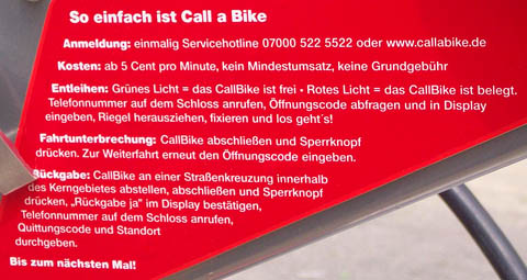 CALLABIKE hire terms, Berlin