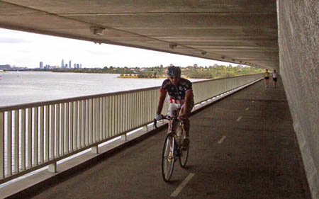 Cycle path under bridge, Perth, Australia