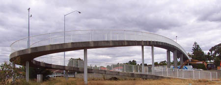 Cycle bridge across motorway, Perth, Australia