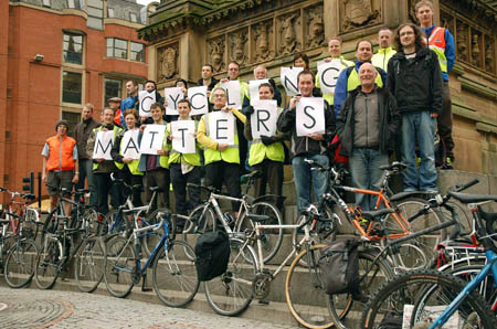 Critical Commute 'Cycling matters', Albert Square, Manchester 2008