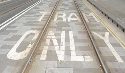 Tram tracks Mosely Street Manchester