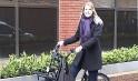 Angelique Meyer on her bike in Manchester
