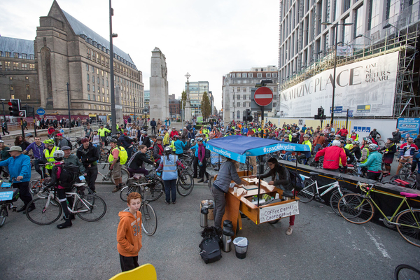 St Peter's Square filled with #space4cycling riders just before we set off