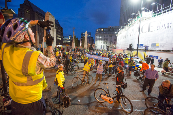 Manchester's #space4cycling ride ended back in St Peter's Square, cue banners, photos, bike lifts etc.