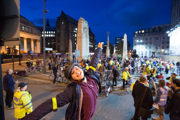 One of Manchester's younger #space4cycling riders expresses his joy after the ride