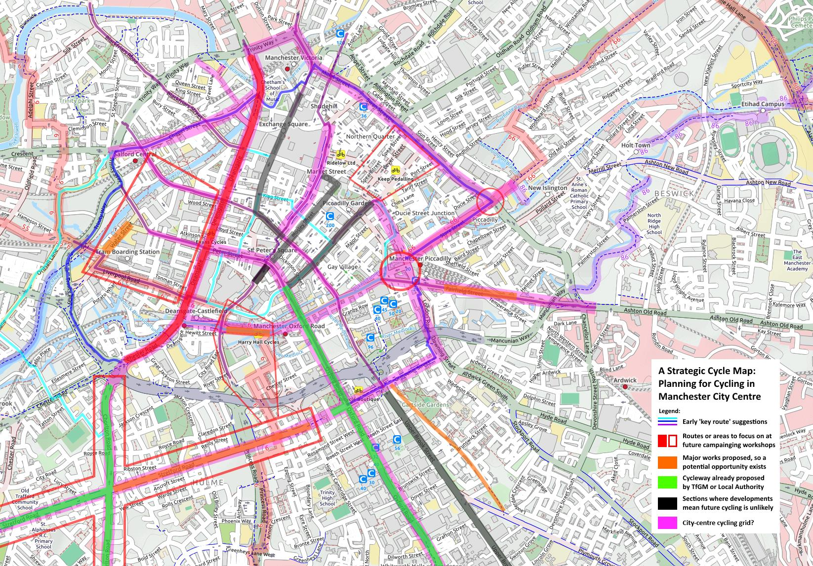 Plans for cycling in Manchester citycentre GMCC Greater