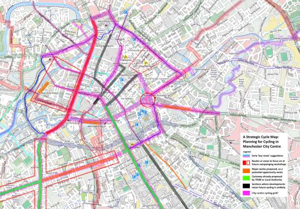 Manchester City Centre Strategic Cycling Map v11
